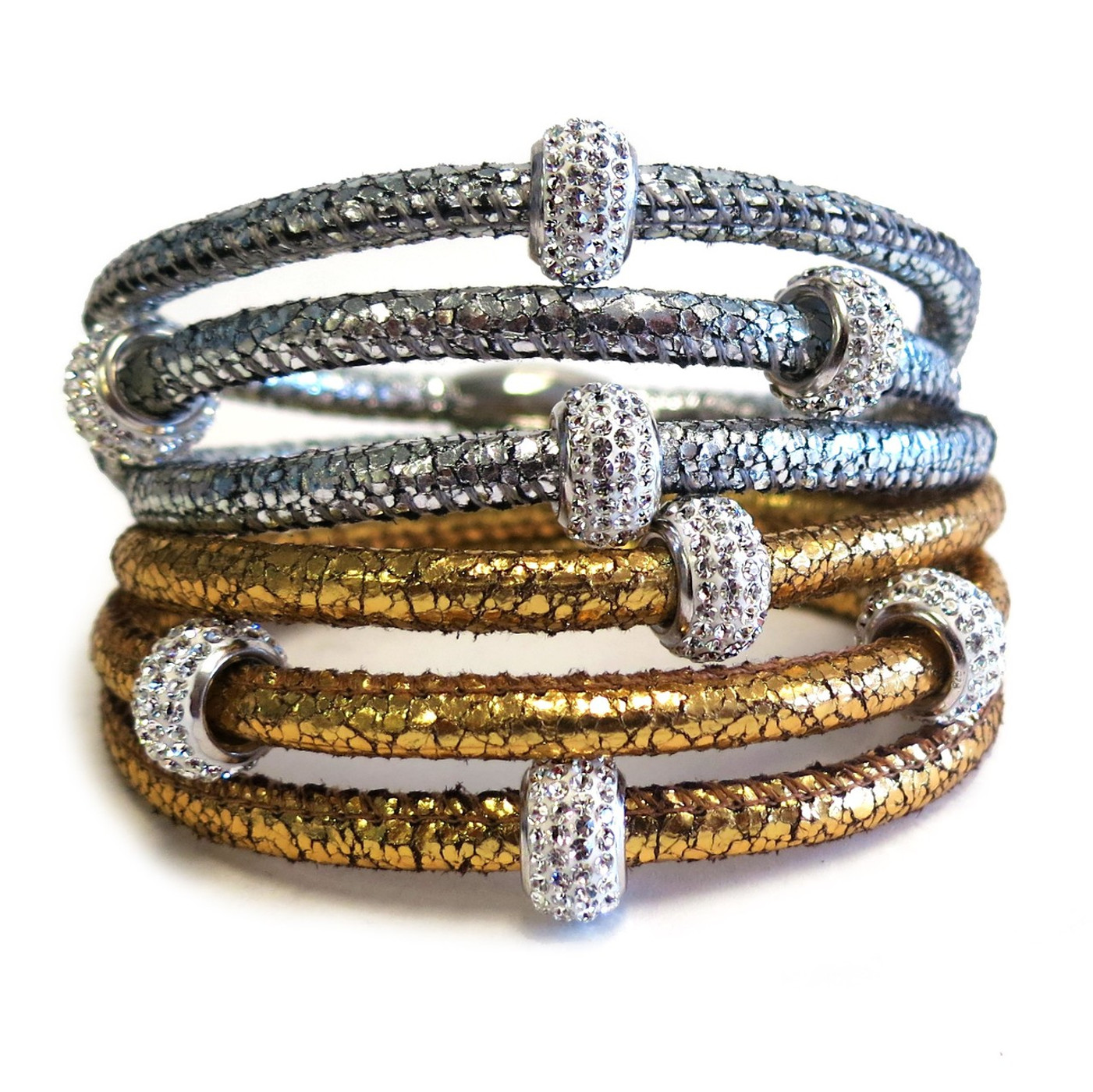 Rare and expensive to make in quality, Nappa Leather Triple Wrap Bracelet  4 Sterling Silver Sparkling Crystals  Easy to use Magnetic Clasp  Size: One Size