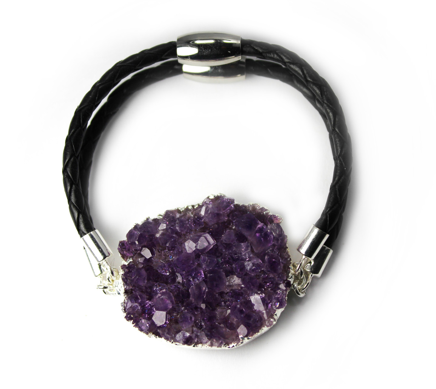 Sterling Silver Druzy Bracelet Double Strand with Large Natural Stone