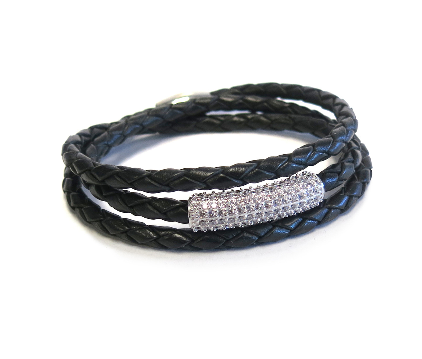 Sterling Silver SOBE Black Bar Triple Wrap