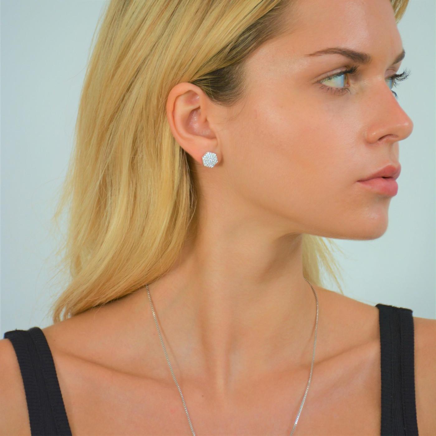 Sterling Silver Pave Nut Stud Earrings