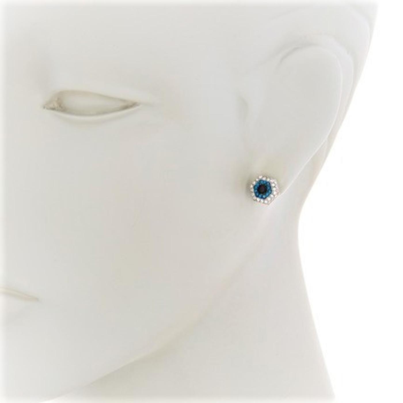 Sterling Silver Evil Eye Nut Stud Earrings