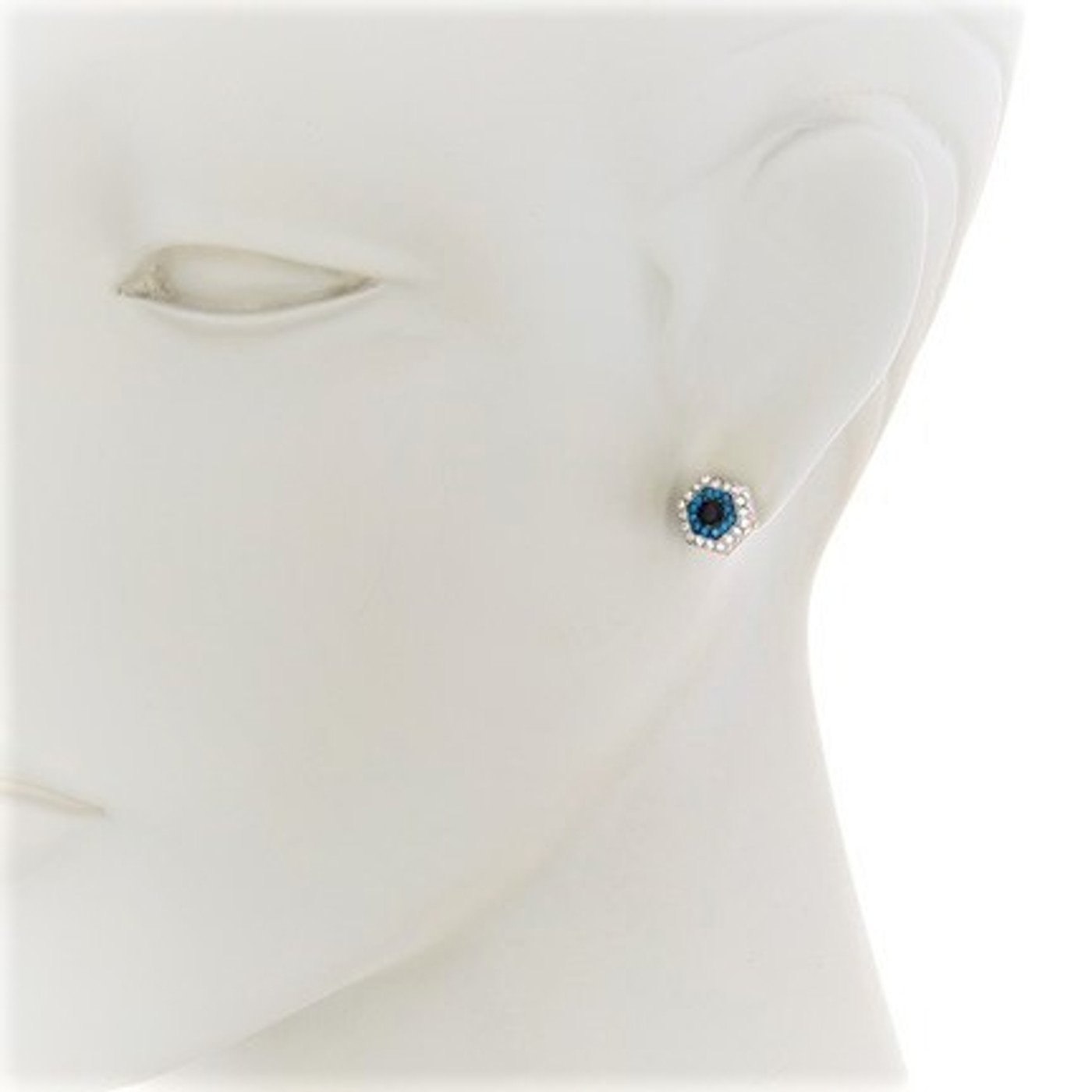 Sterling Silver Evil Eye Nut Stud Earrings