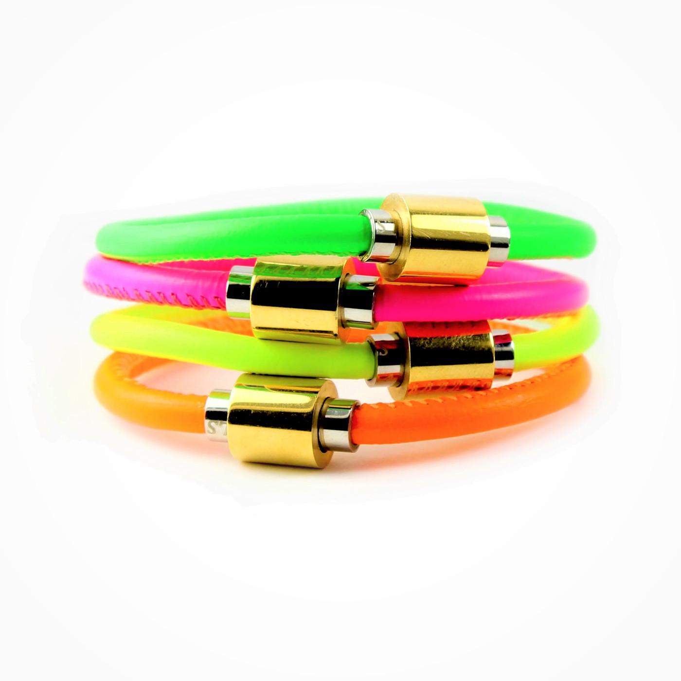 Neon Flash Single Leather Bracelet