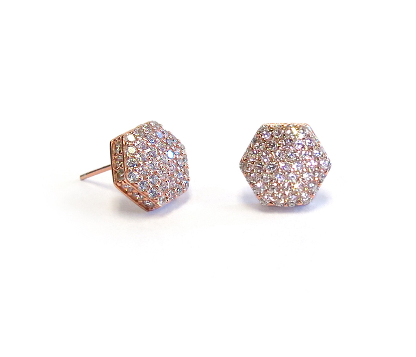 Pave Nut Earring Rose Gold