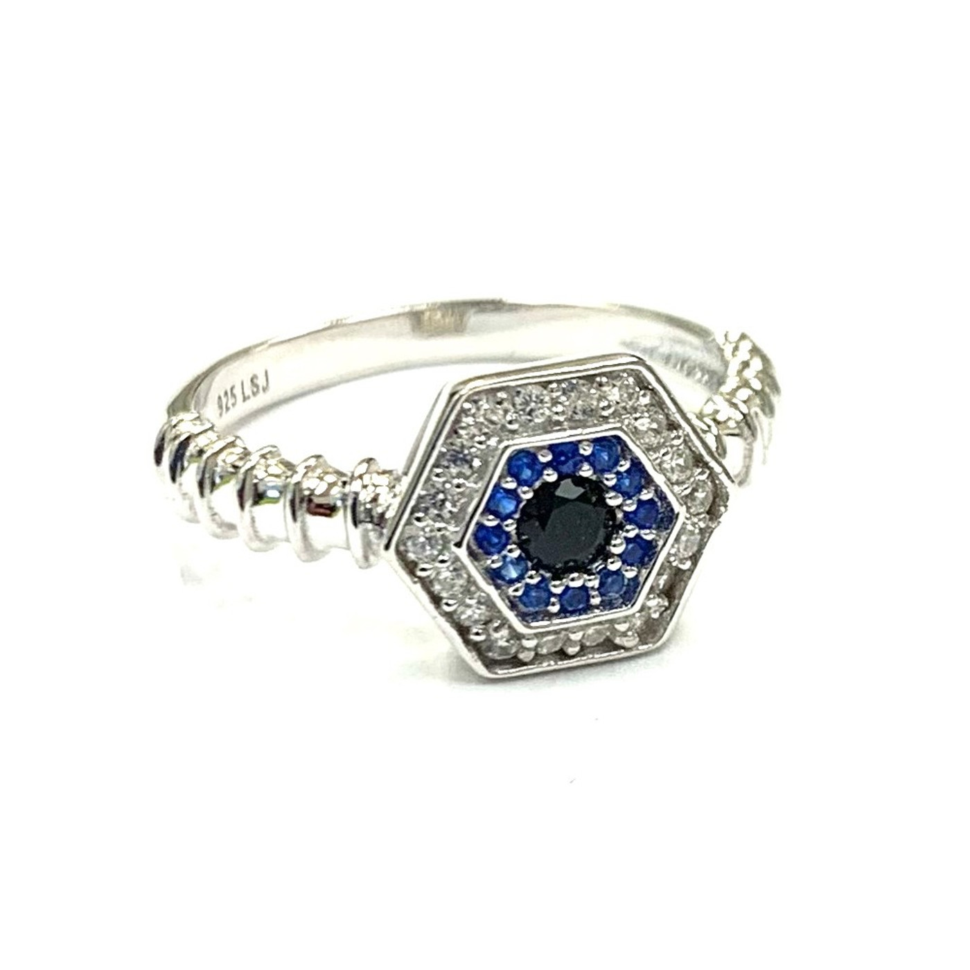 Sterling Silver Touch Evil Eye Ring