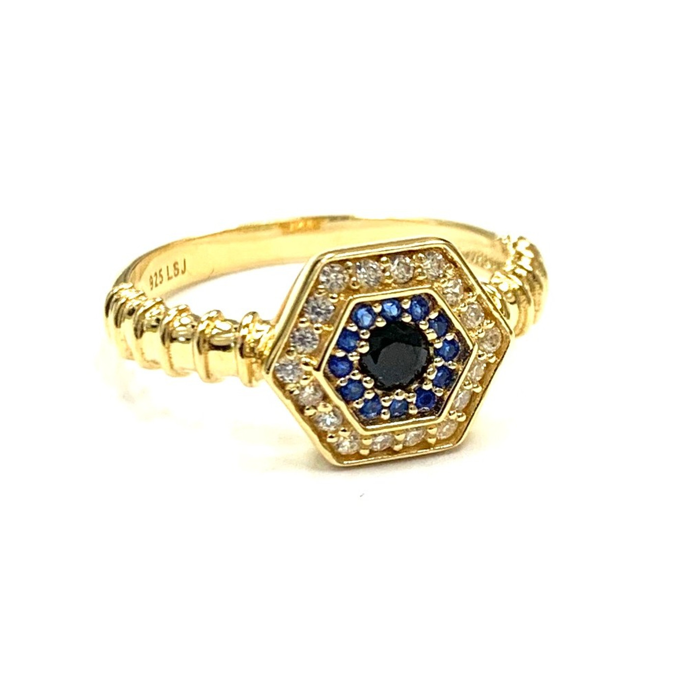 18K Gold over Sterling Silver Touch Evil Eye Ring