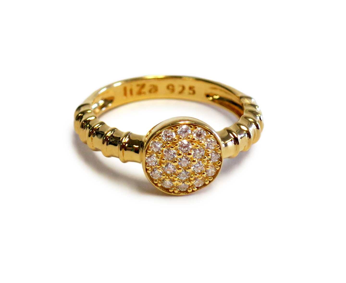 18K Gold over Sterling Silver Touch Solar Ring