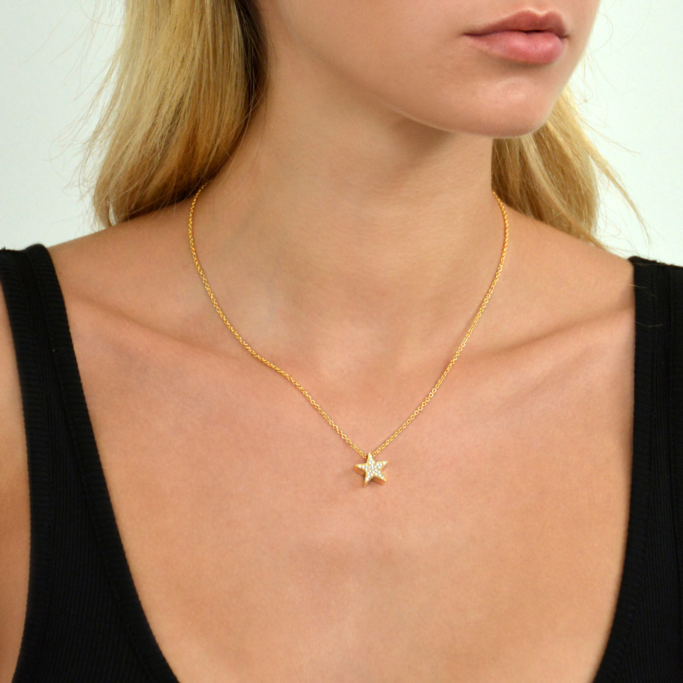 18K Gold over Sterling Silver Touch Star Necklace
