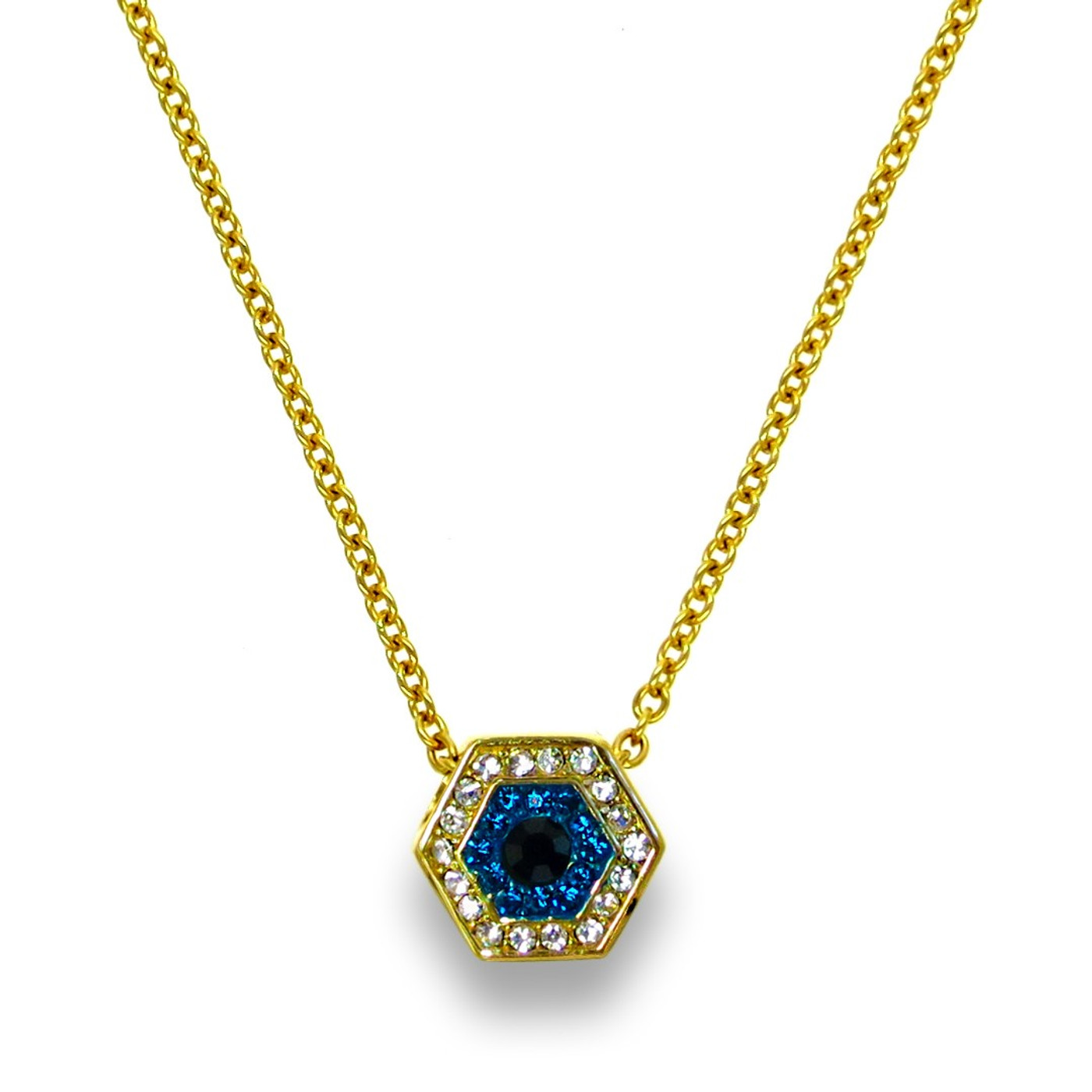 18K Gold over Sterling Silver Touch Evil Eye Necklace