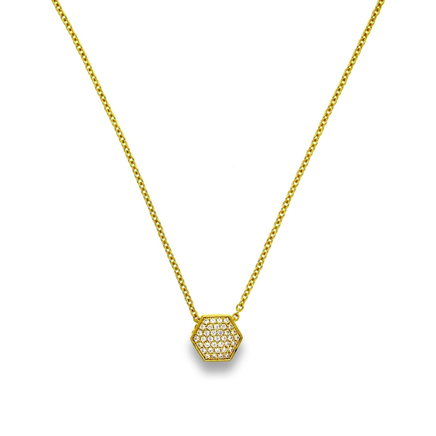 Pave Nut Necklace Gold