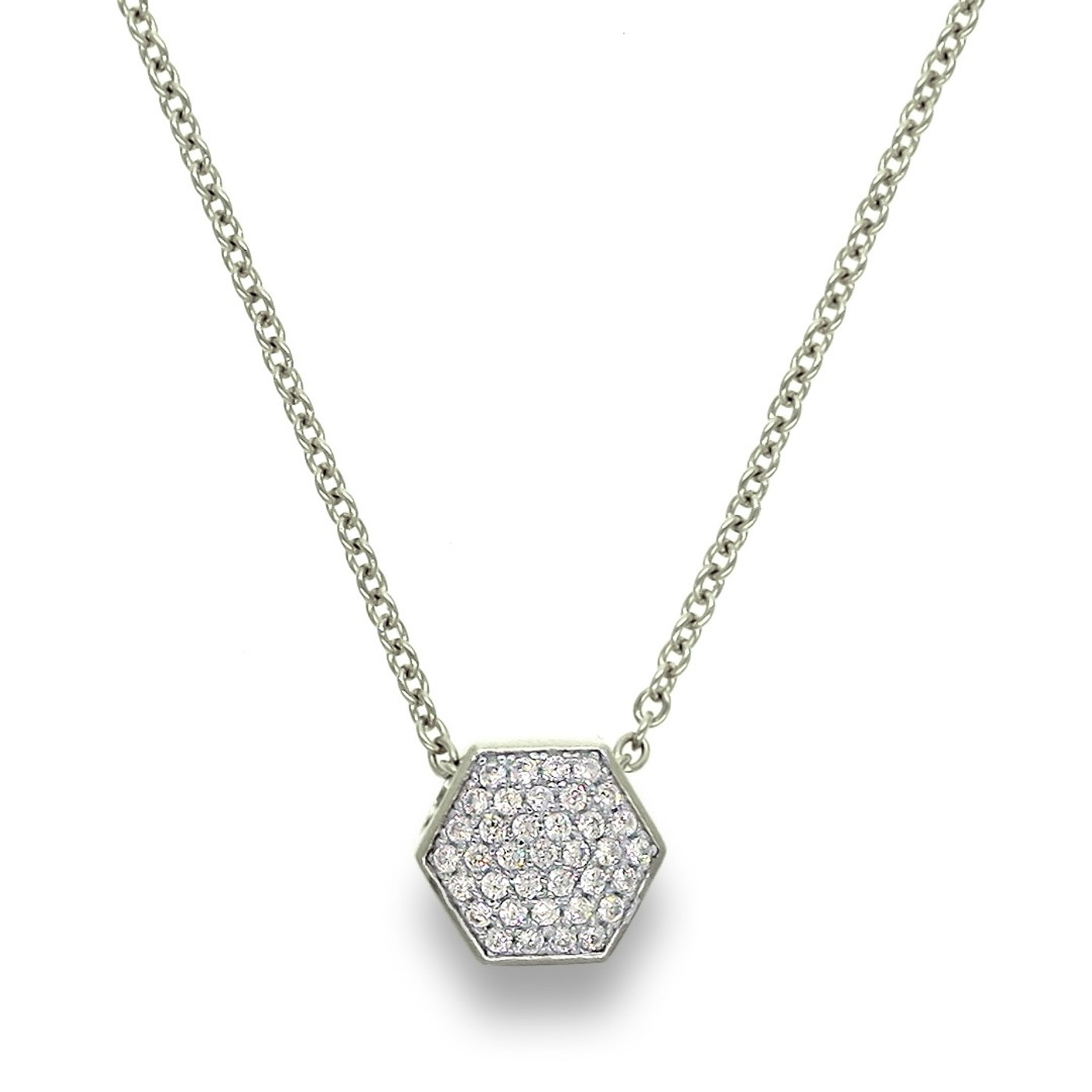 Sterling Silver Pave Nut Necklace