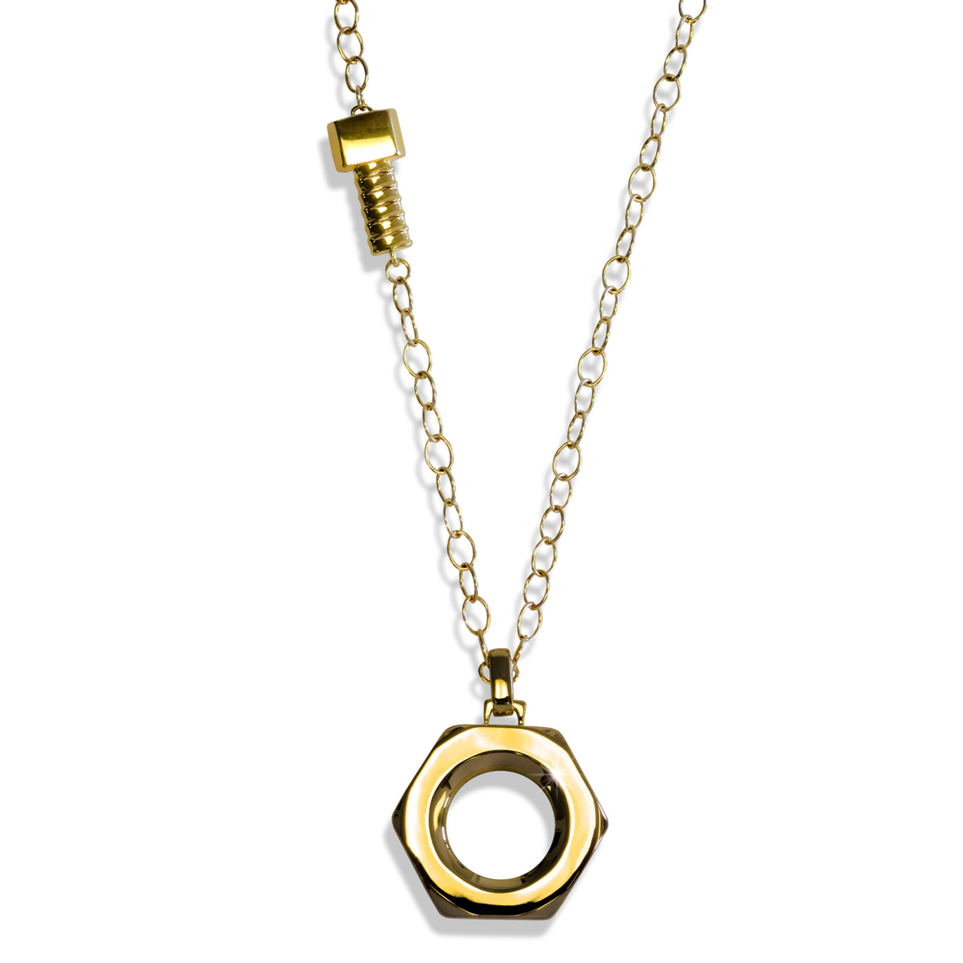 Nut and Bolt Necklace Gold