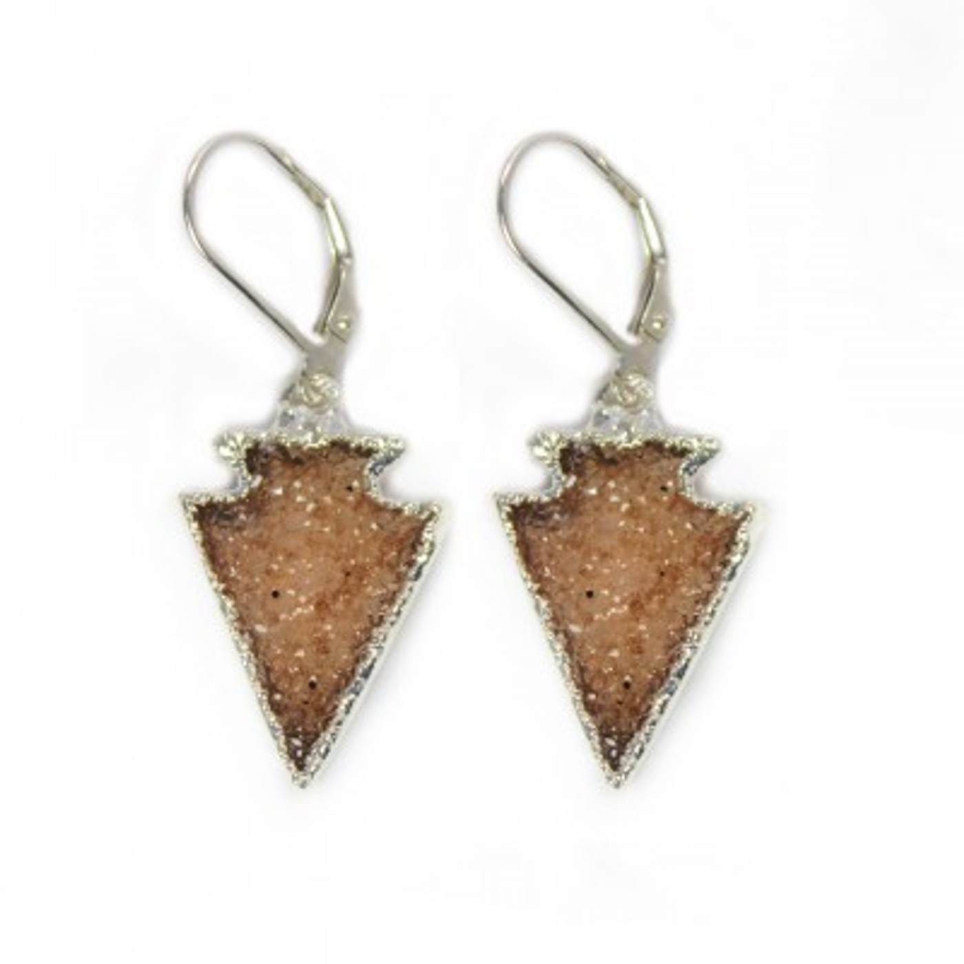 Druzy Earrings Silver Arrows
