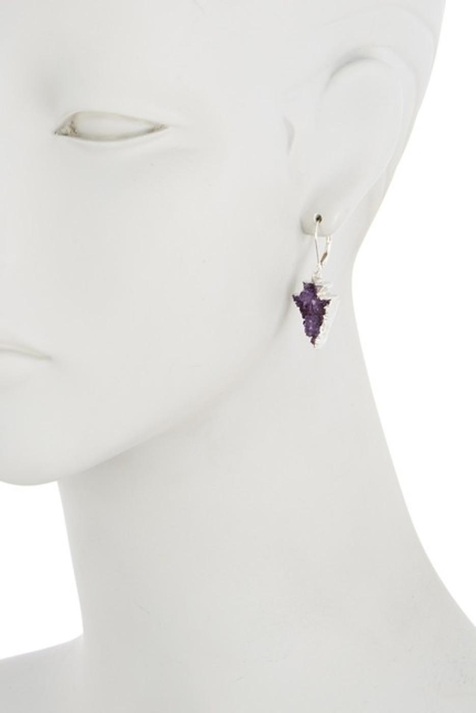 Sterling Silver Druzy Arrow Earrings