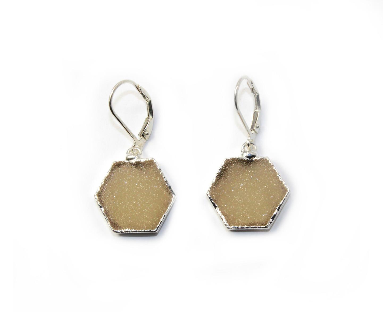 Sterling Silver Druzy Hexagon Earrings