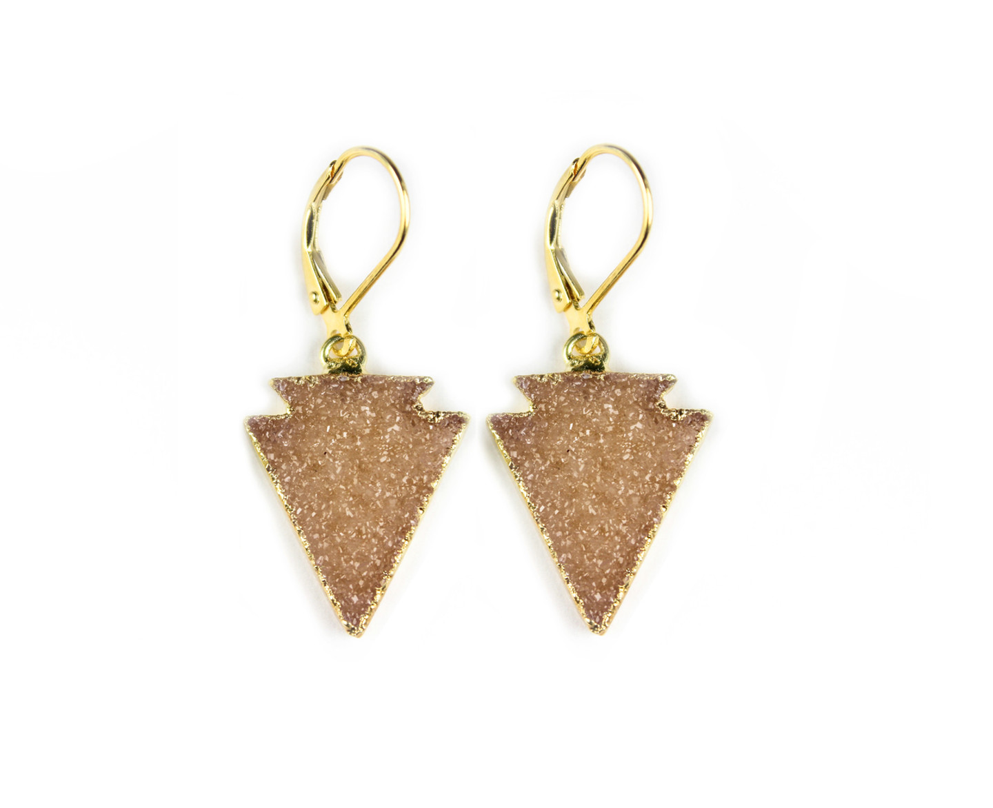 18K Gold over Sterling Silver Druzy Arrow Earrings