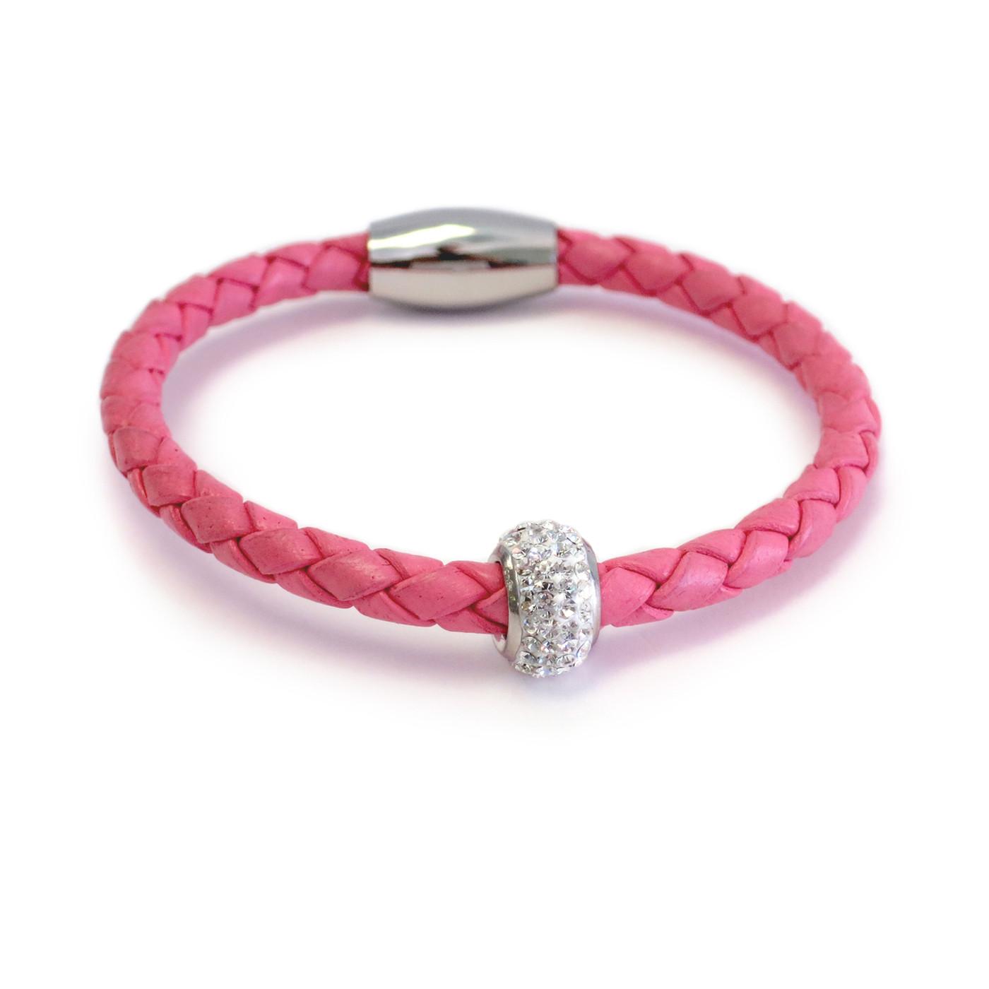 Kids Bedazzle Leather Bracelet Pink