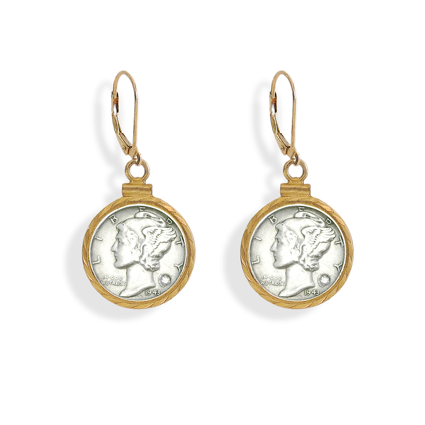 Silver Mercury Dime Earring with Diamond