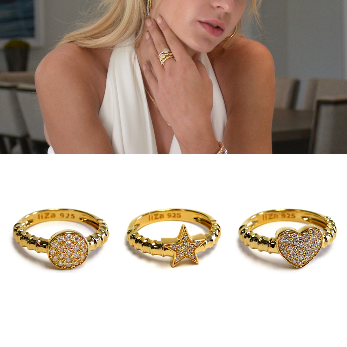 Touch Ring Stack Gold