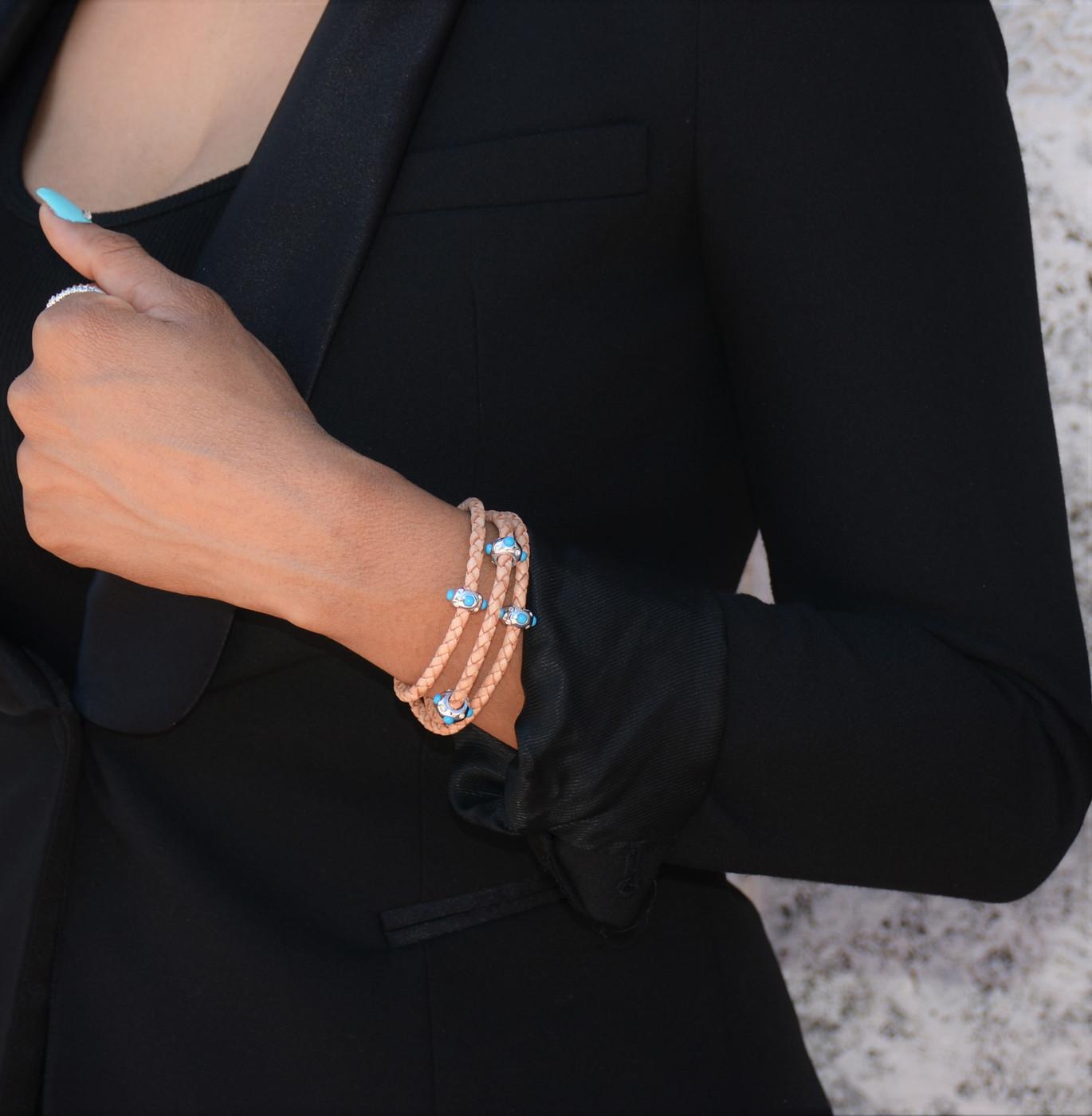 Pow Wow Turquoise Triple Wrap Silver