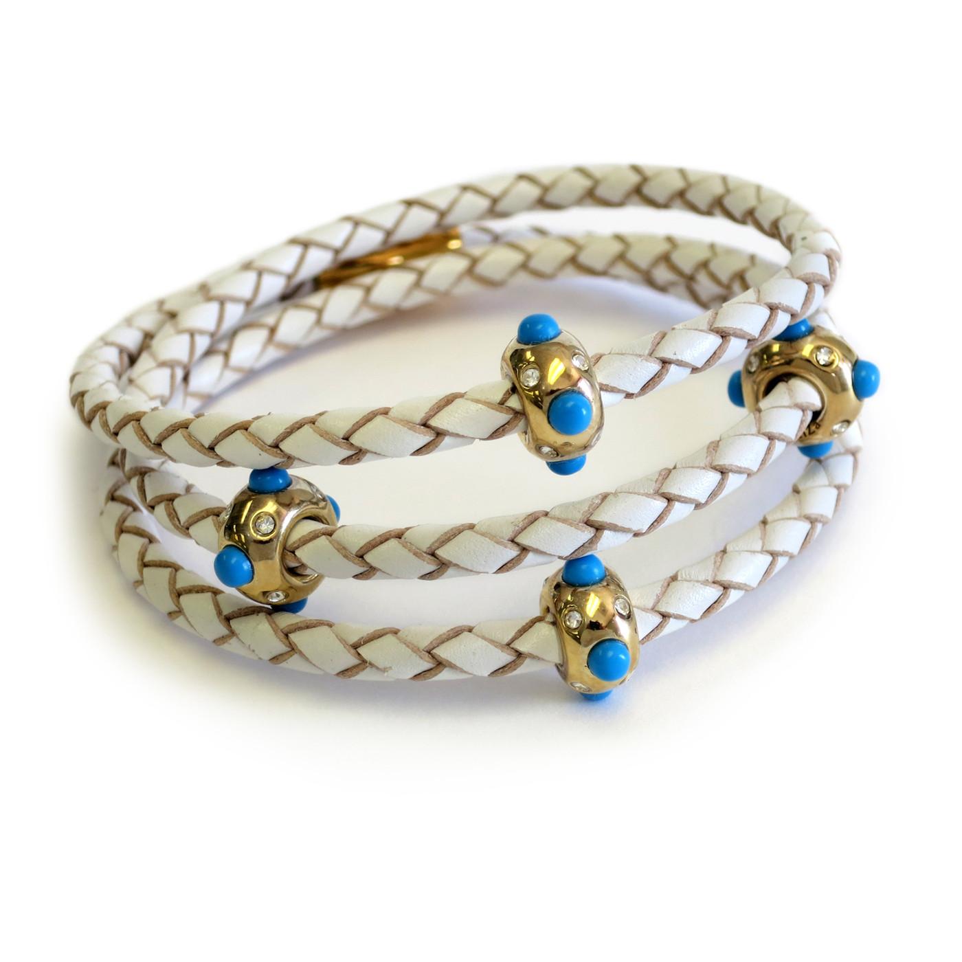 Pow Wow Triple Turquoise Wrap  Gold