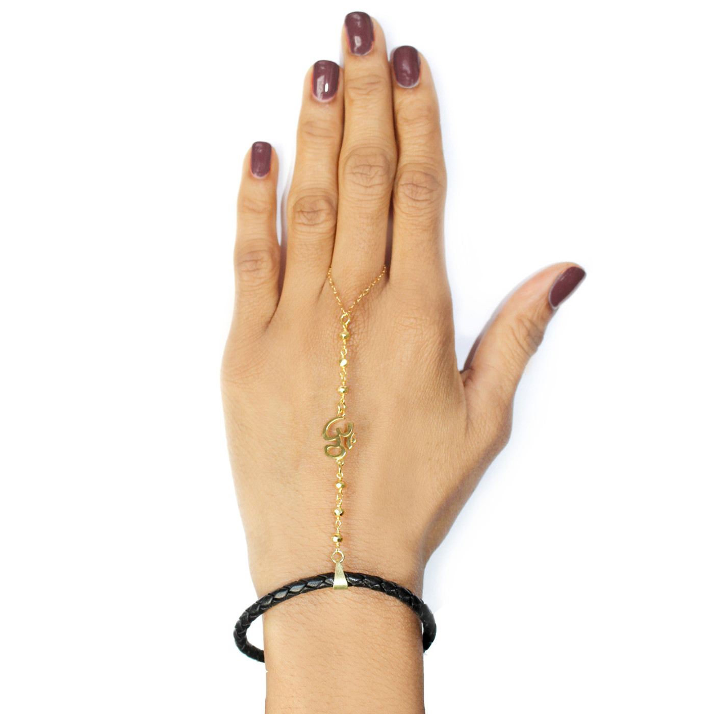 18K Gold over Sterling Silver Hand Chain: The OM