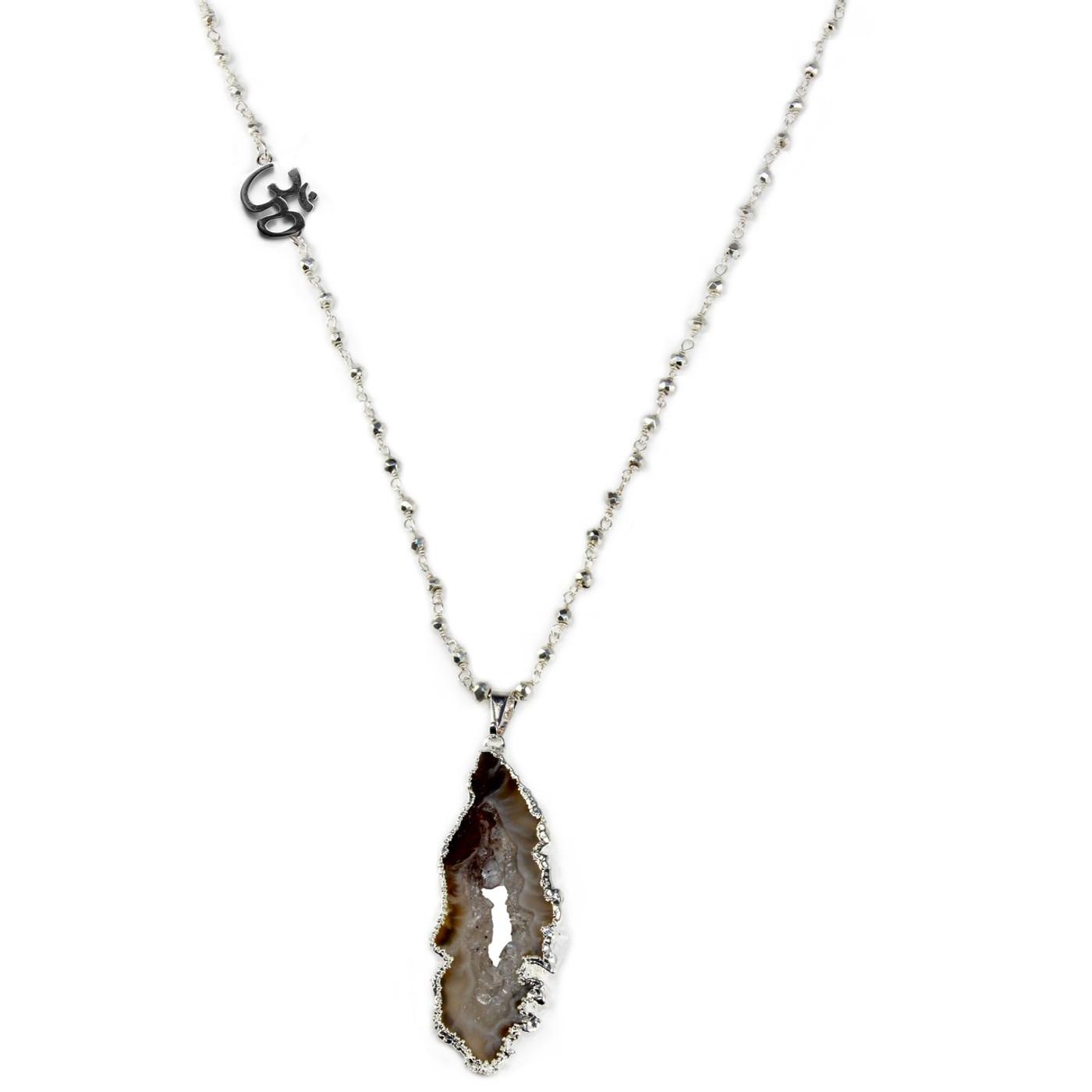 Sterling Silver Geode OM Necklace