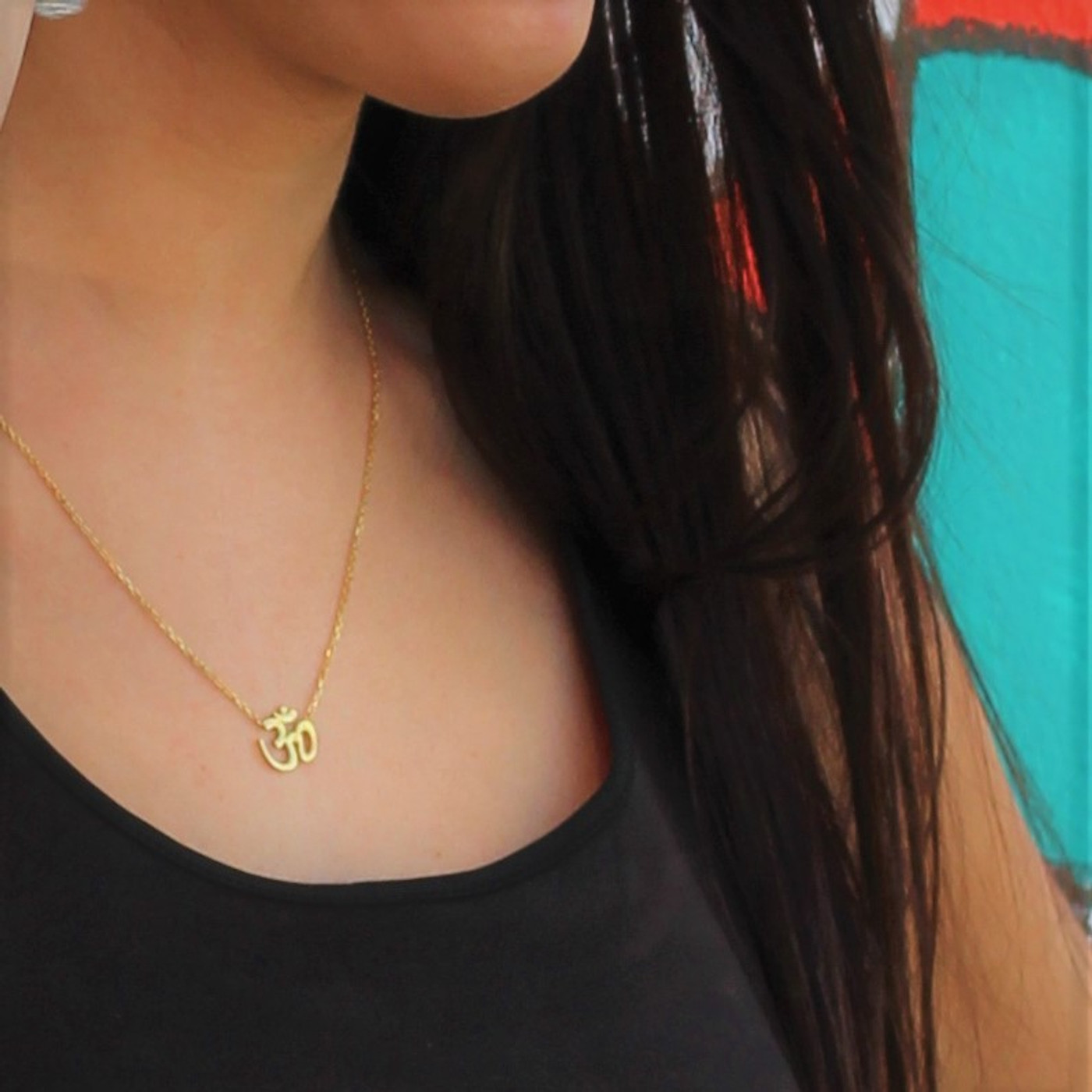 18K Gold over Sterling Silver OM Necklace