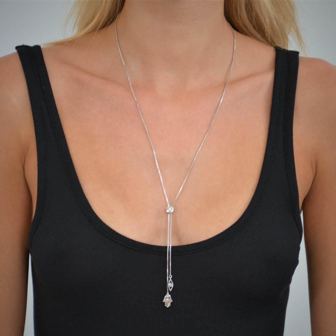 Hamsa Eye Lariat Necklace Silver