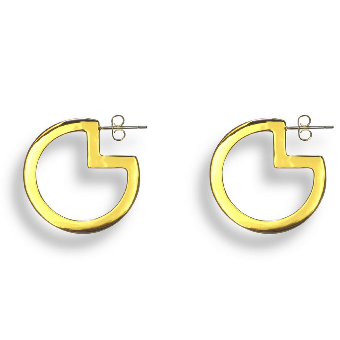 Pac-Man Hoop Earrings Gold