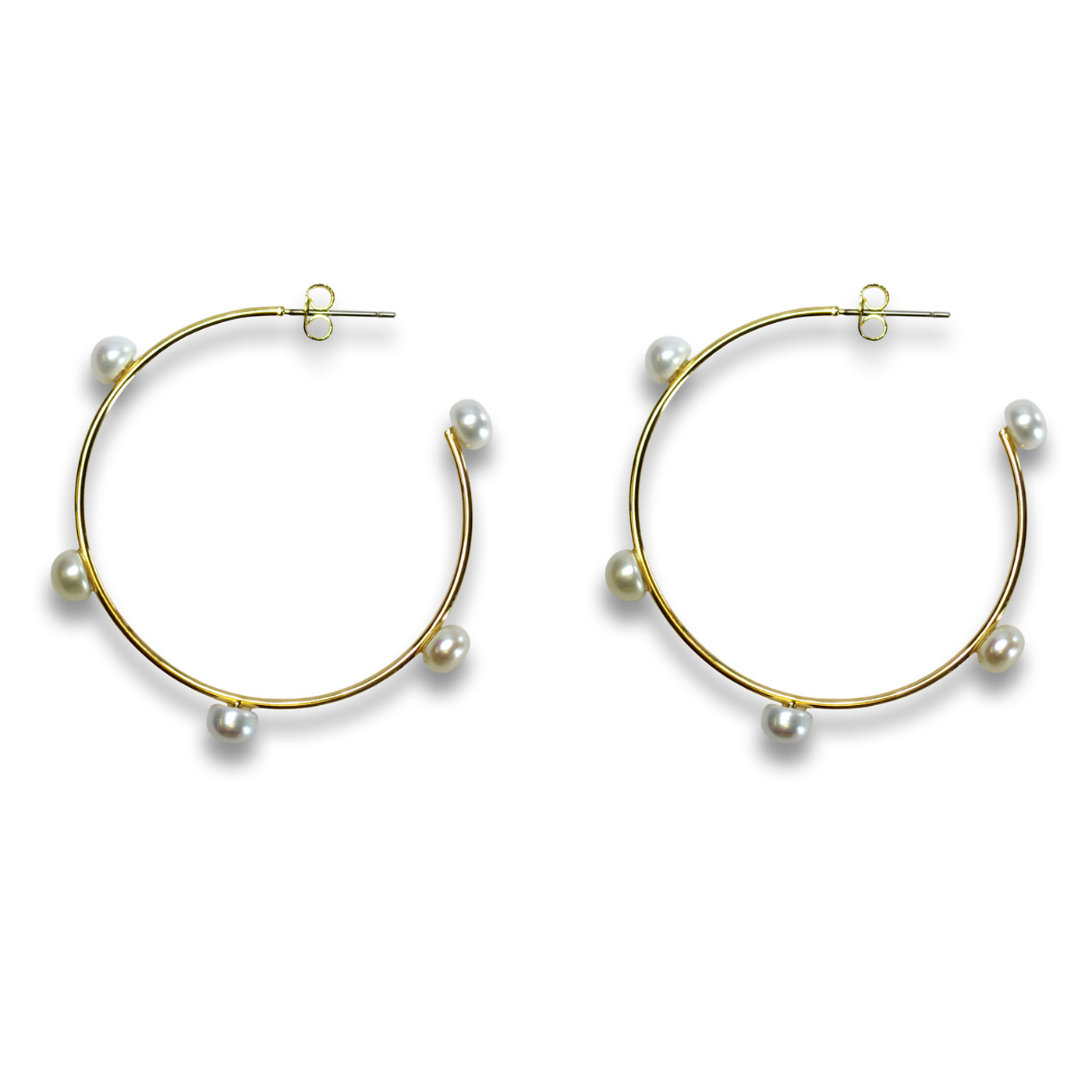 Medium Pearl Hoops Gold