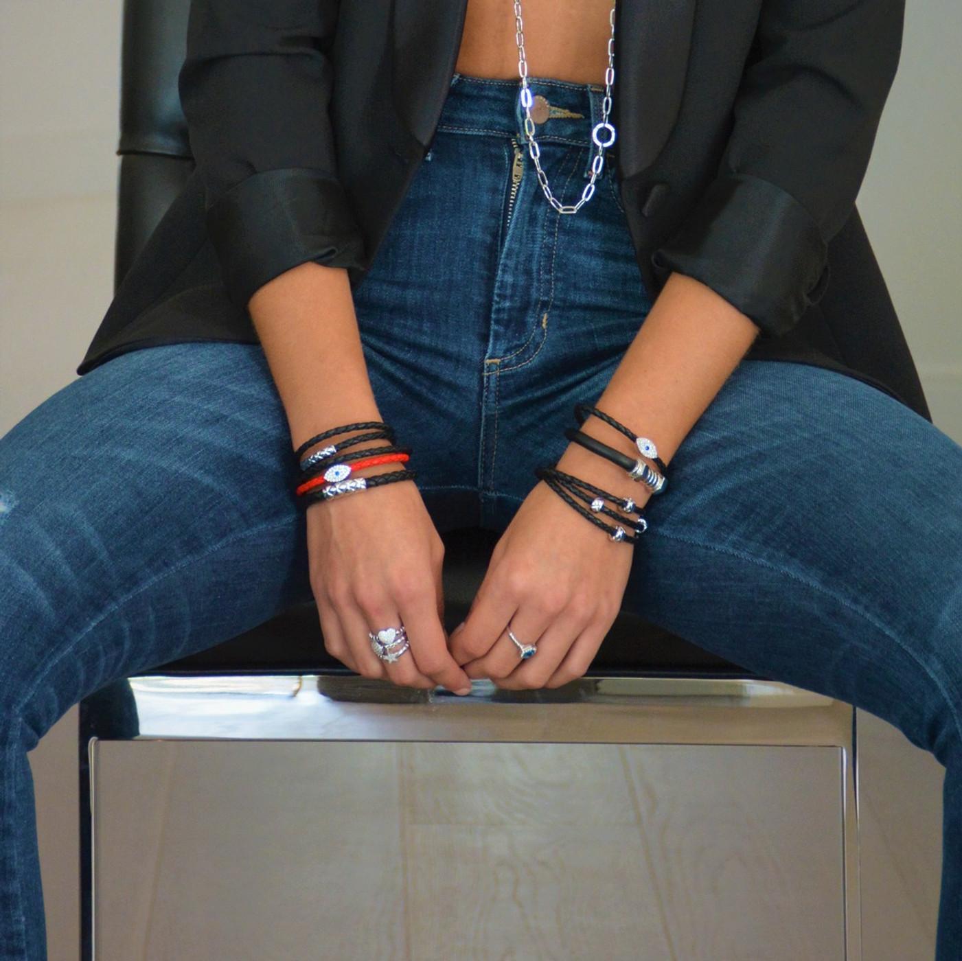 Sapphire Evil Eye Leather Bracelet Silver