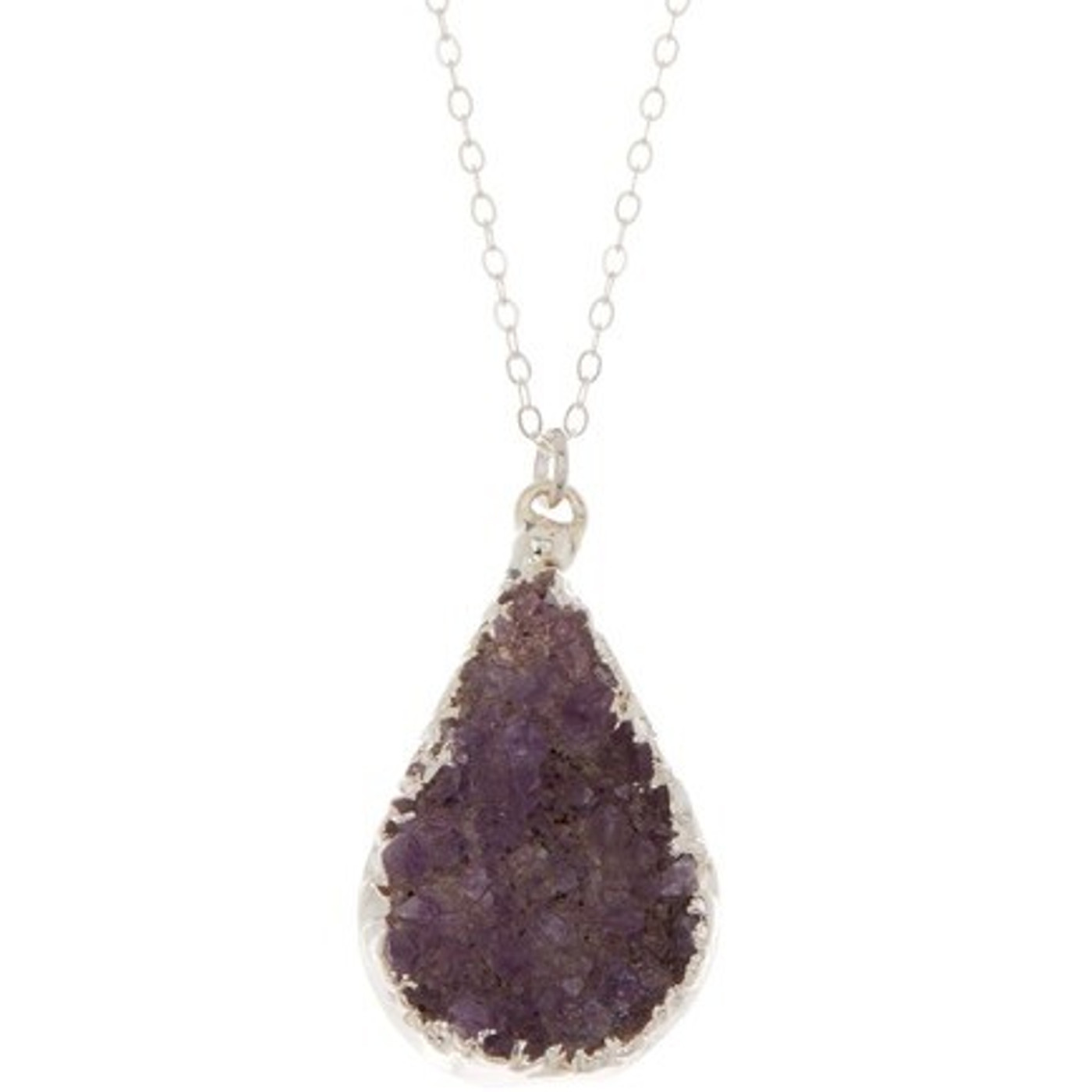 Sterling Silver Druzy Necklace Teardrop