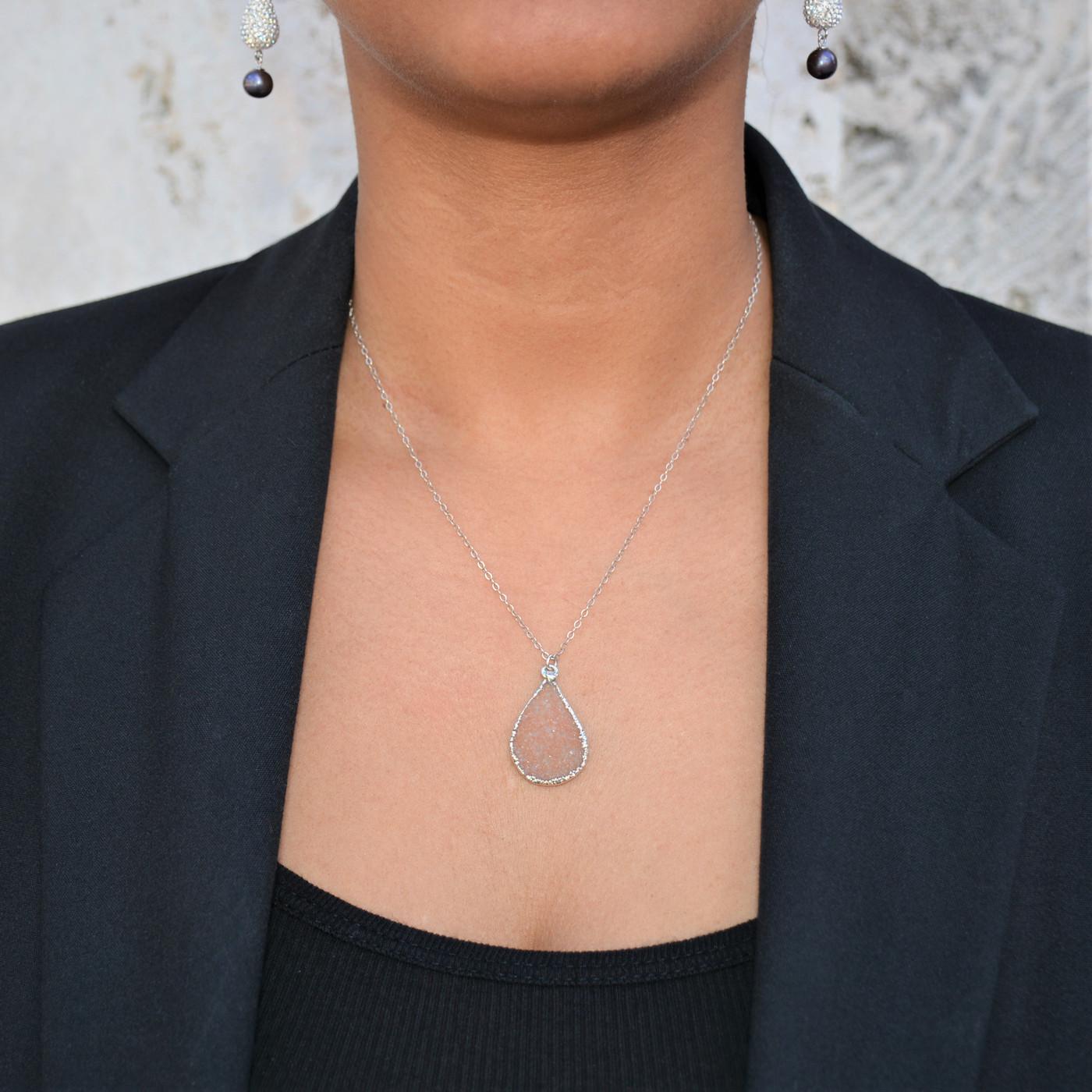 Sterling Silver Druzy Necklace Teardrop