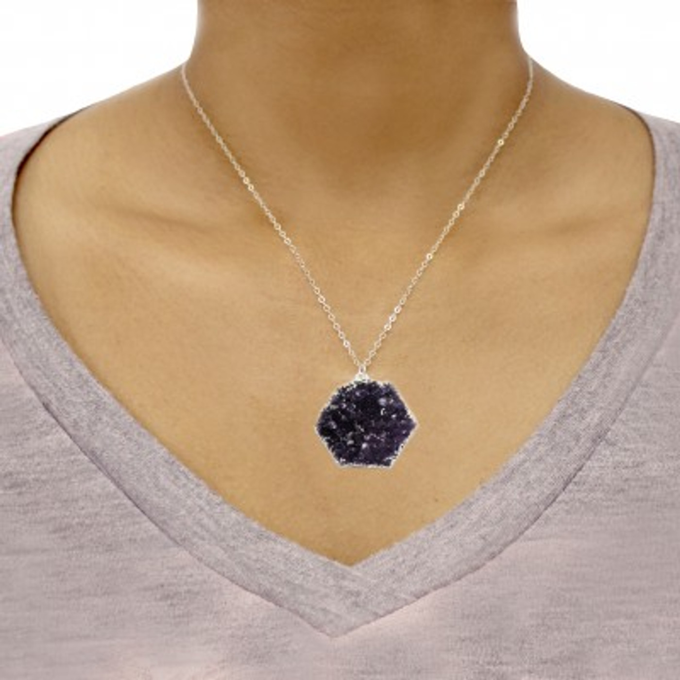 Druzy Necklace Hexagon