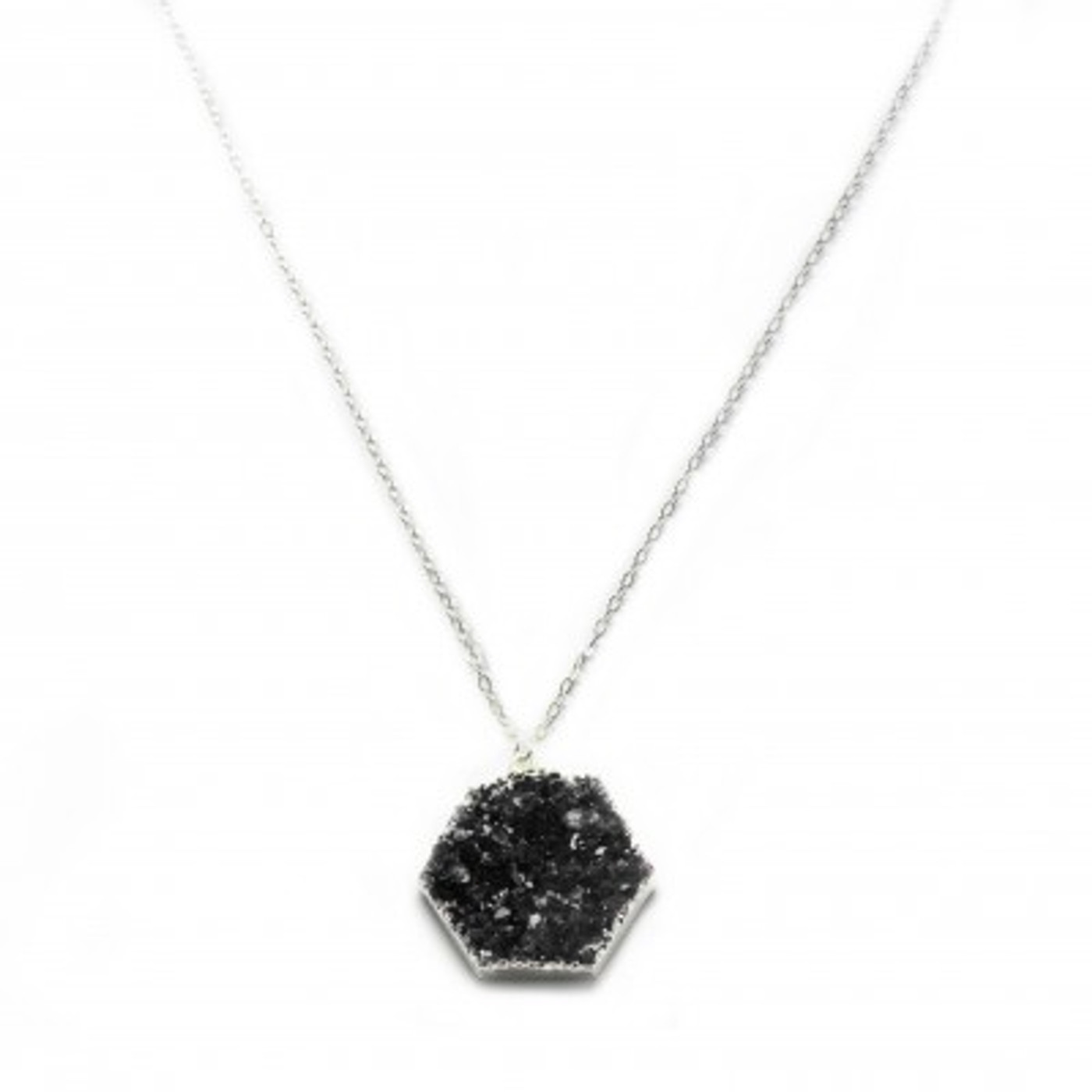 Sterling Silver Druzy Necklace Hexagon