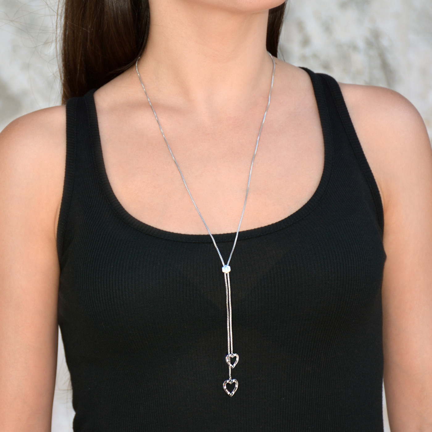 Heart Lariat Necklace Silver