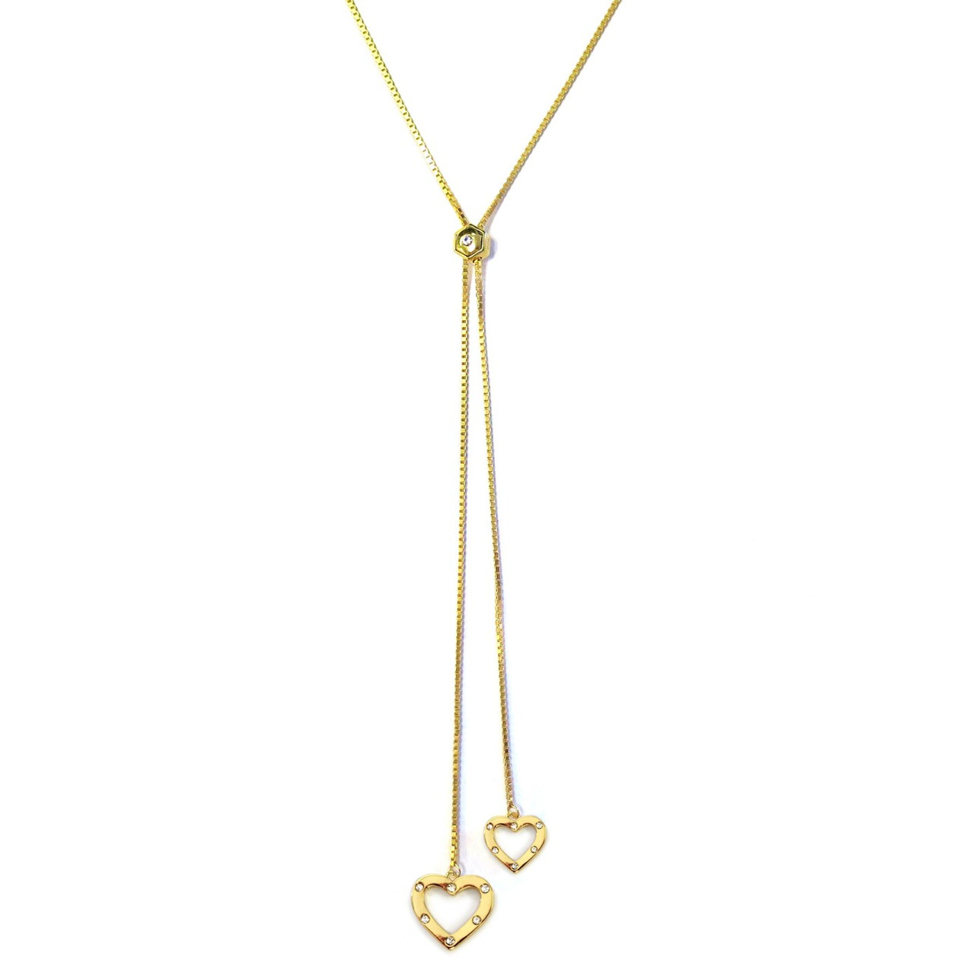 Heart Lariat Necklace Gold