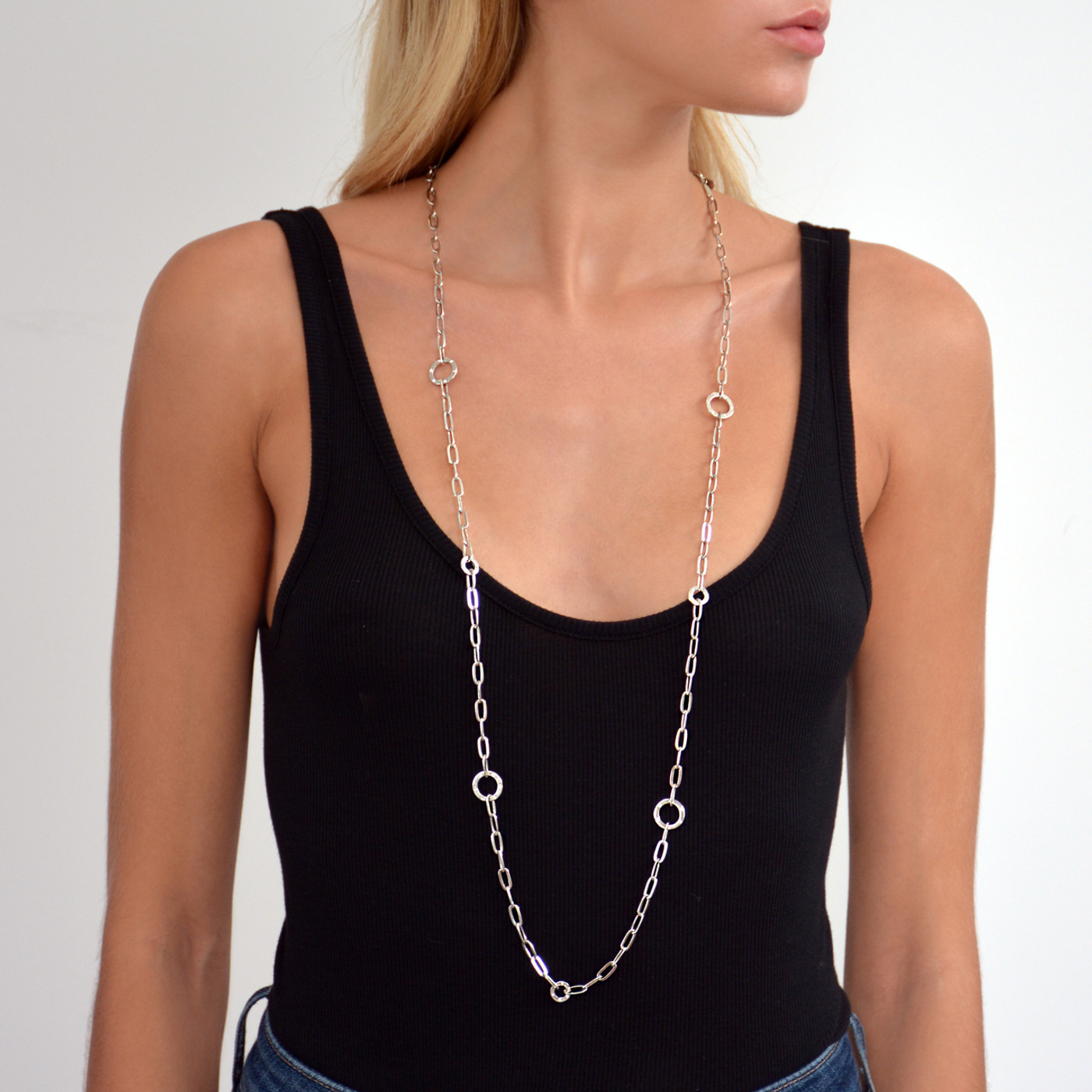 Grand Long Chain Necklace Silver