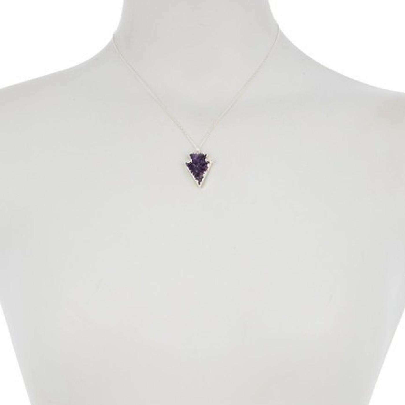 Sterling Silver Druzy Necklace Arrow