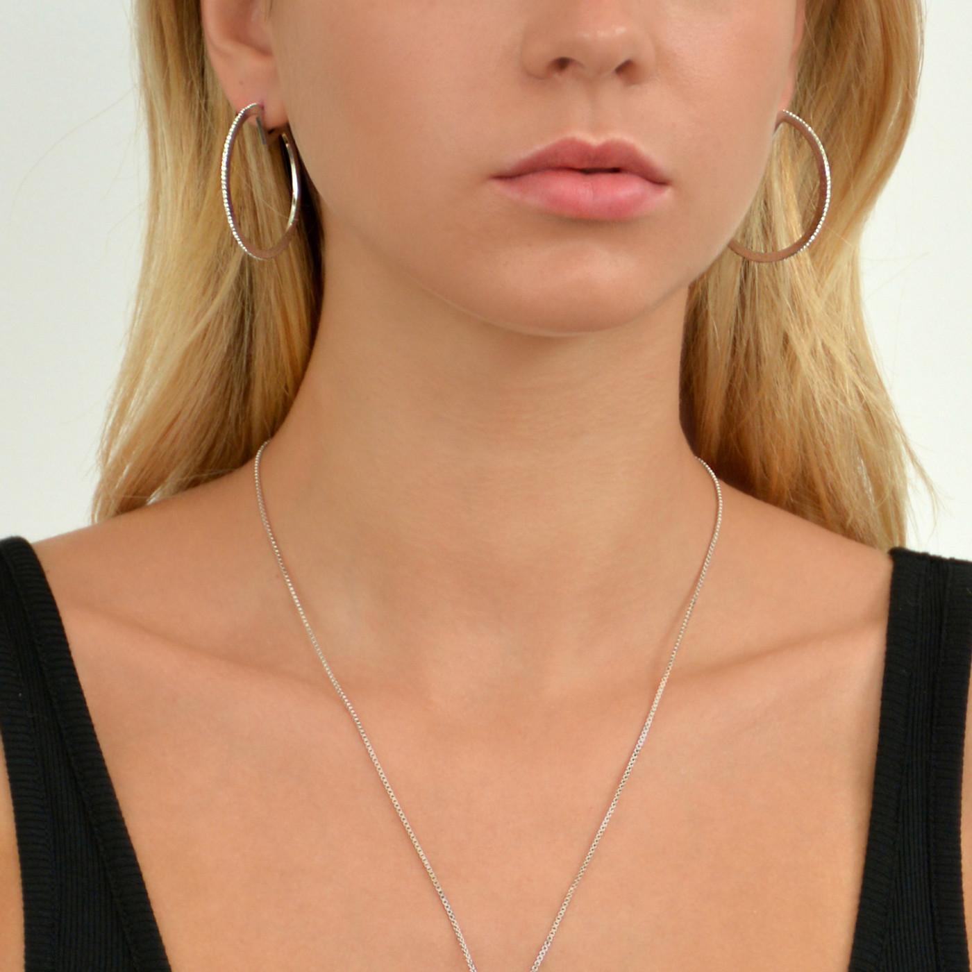 Glitzy Hoop Earrings Silver