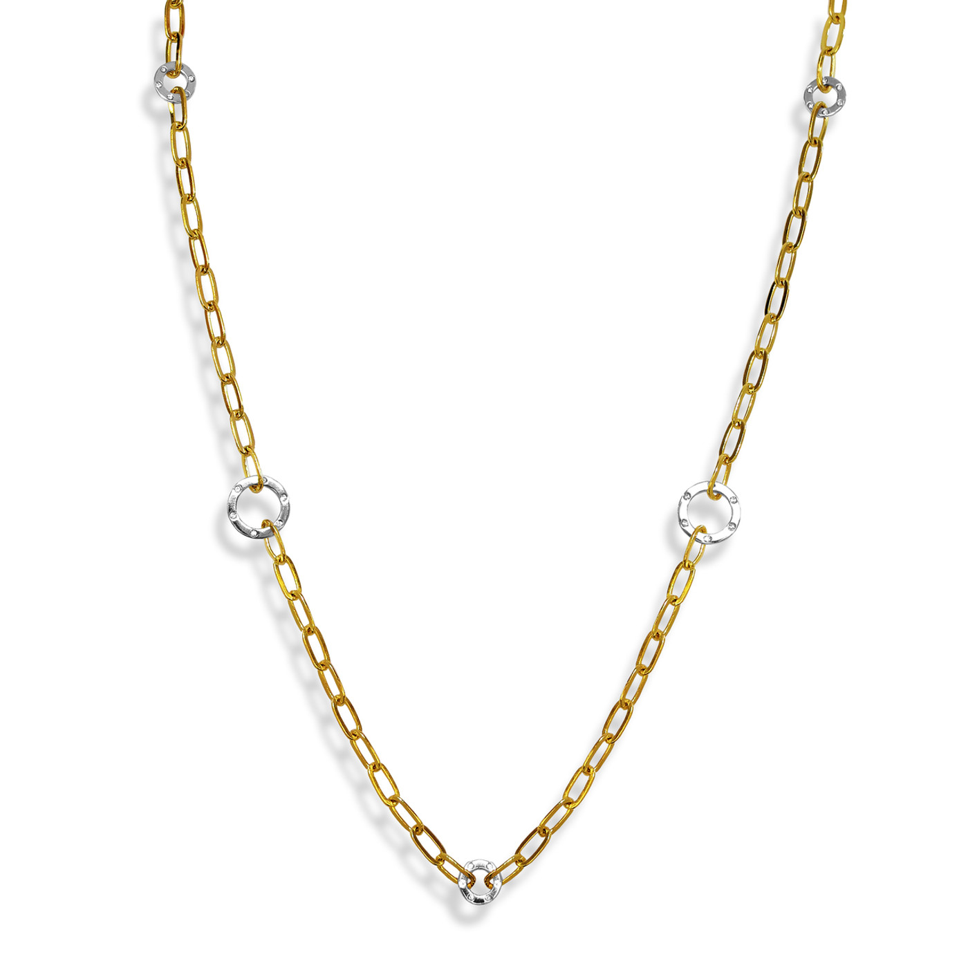 Grand Two -Tone Long Chain Necklace