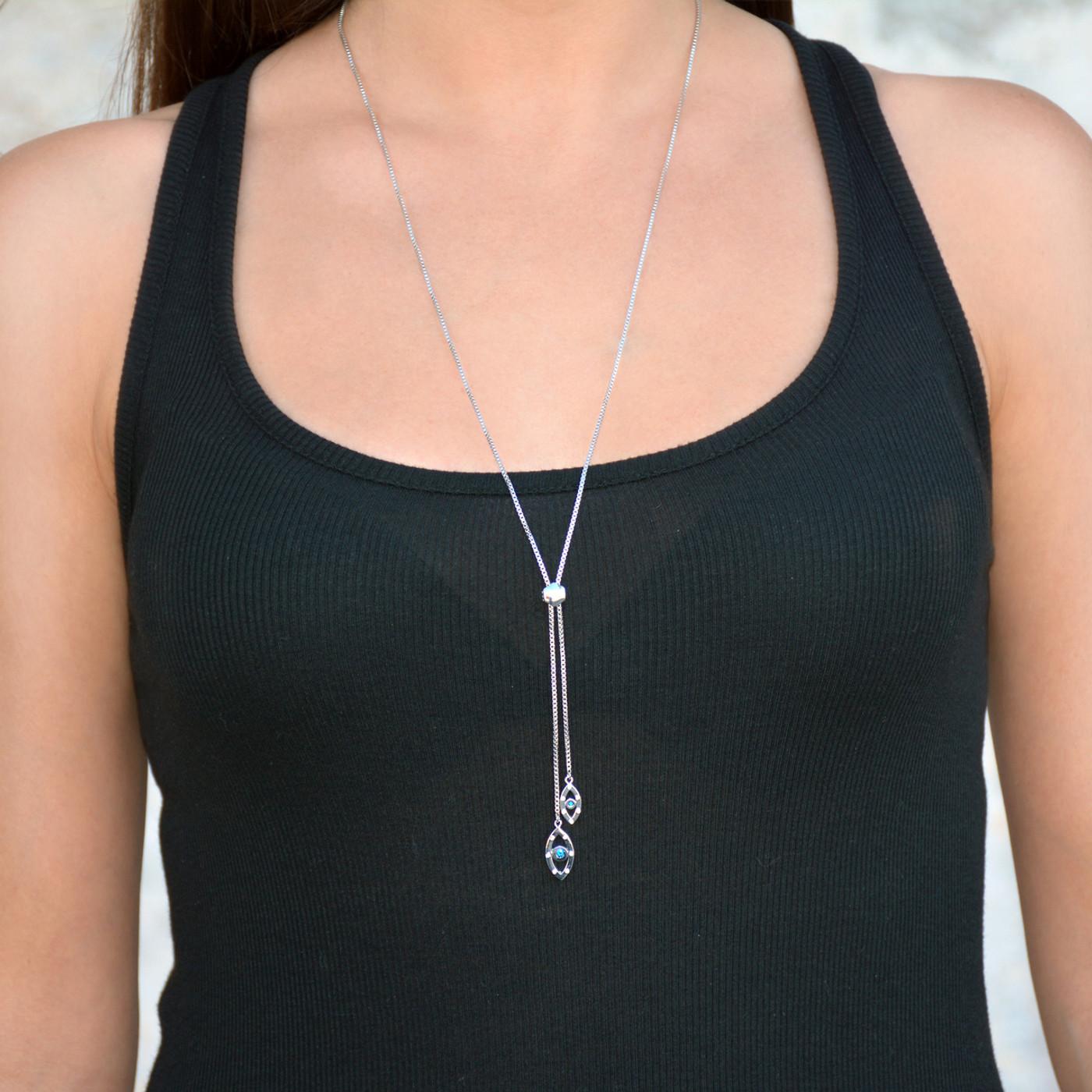 Evil Eye Sapphire Lariat Necklace