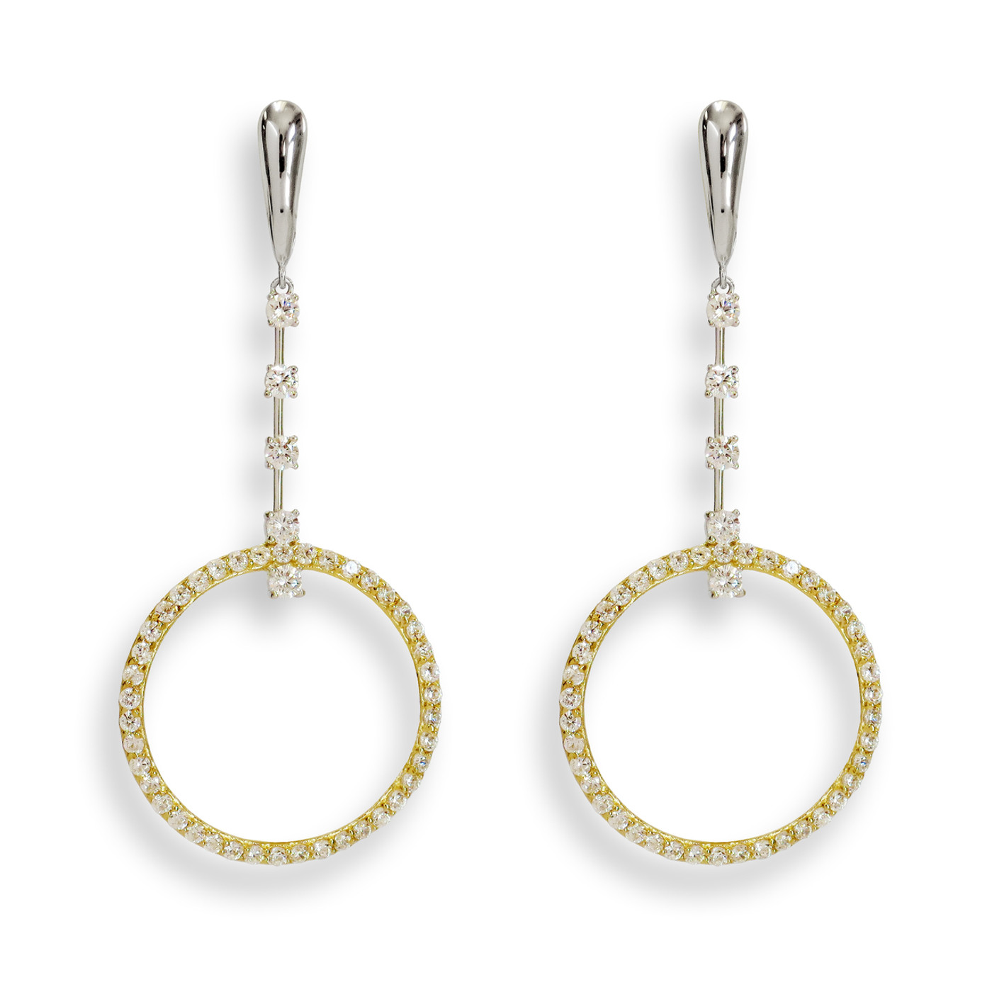 Sterling Silver Amour Gala Earrings Two-Tone
