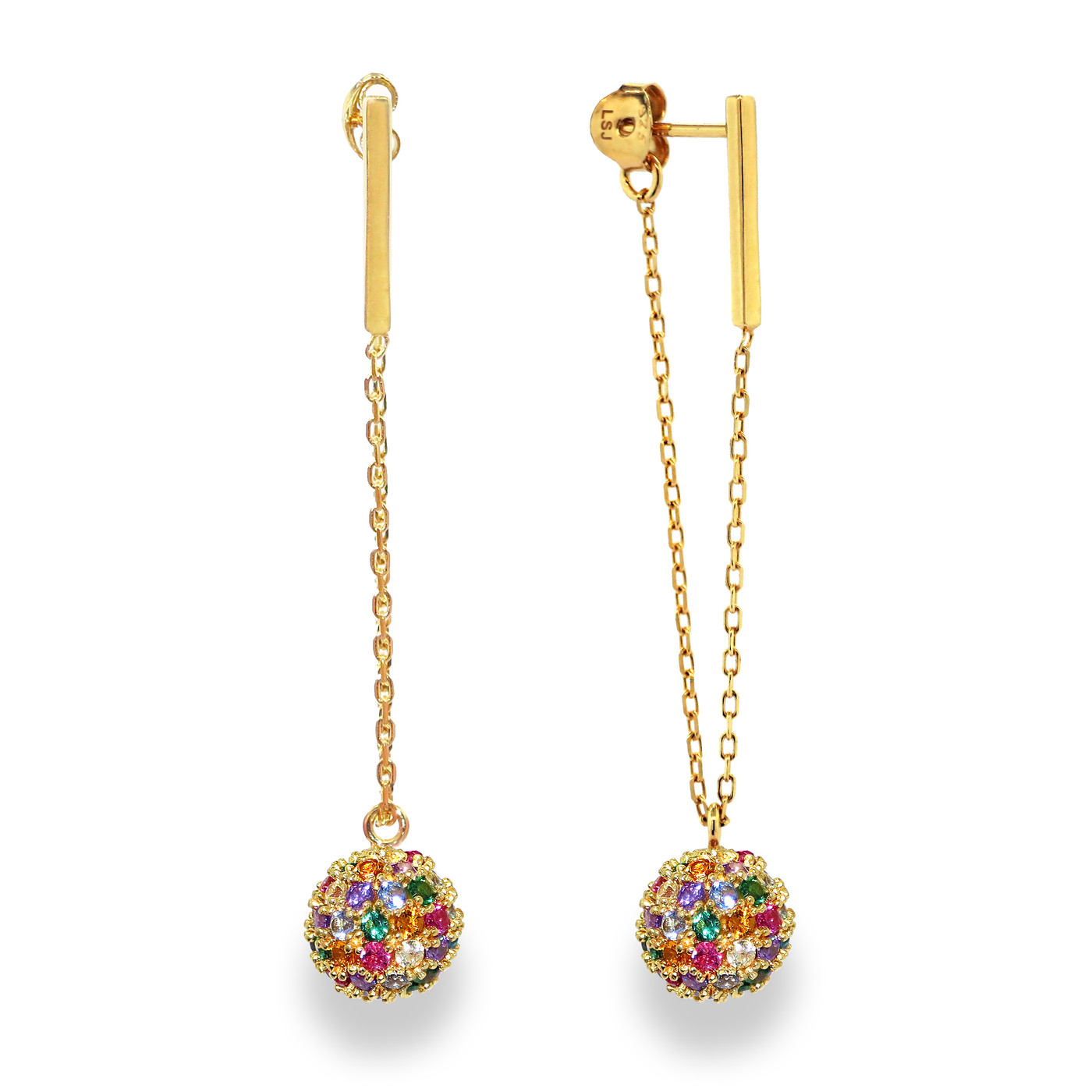 18K Gold over Sterling Silver Rainbow Champagne Drop Earrings