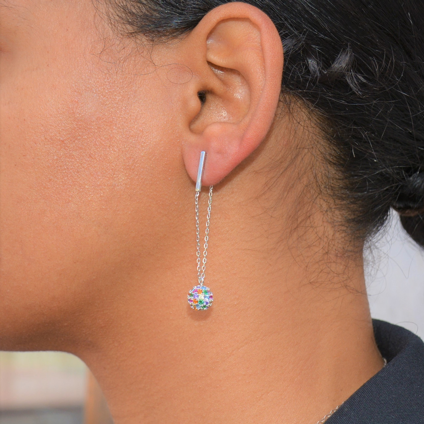 Sterling Silver Rainbow Champagne Drop Earrings