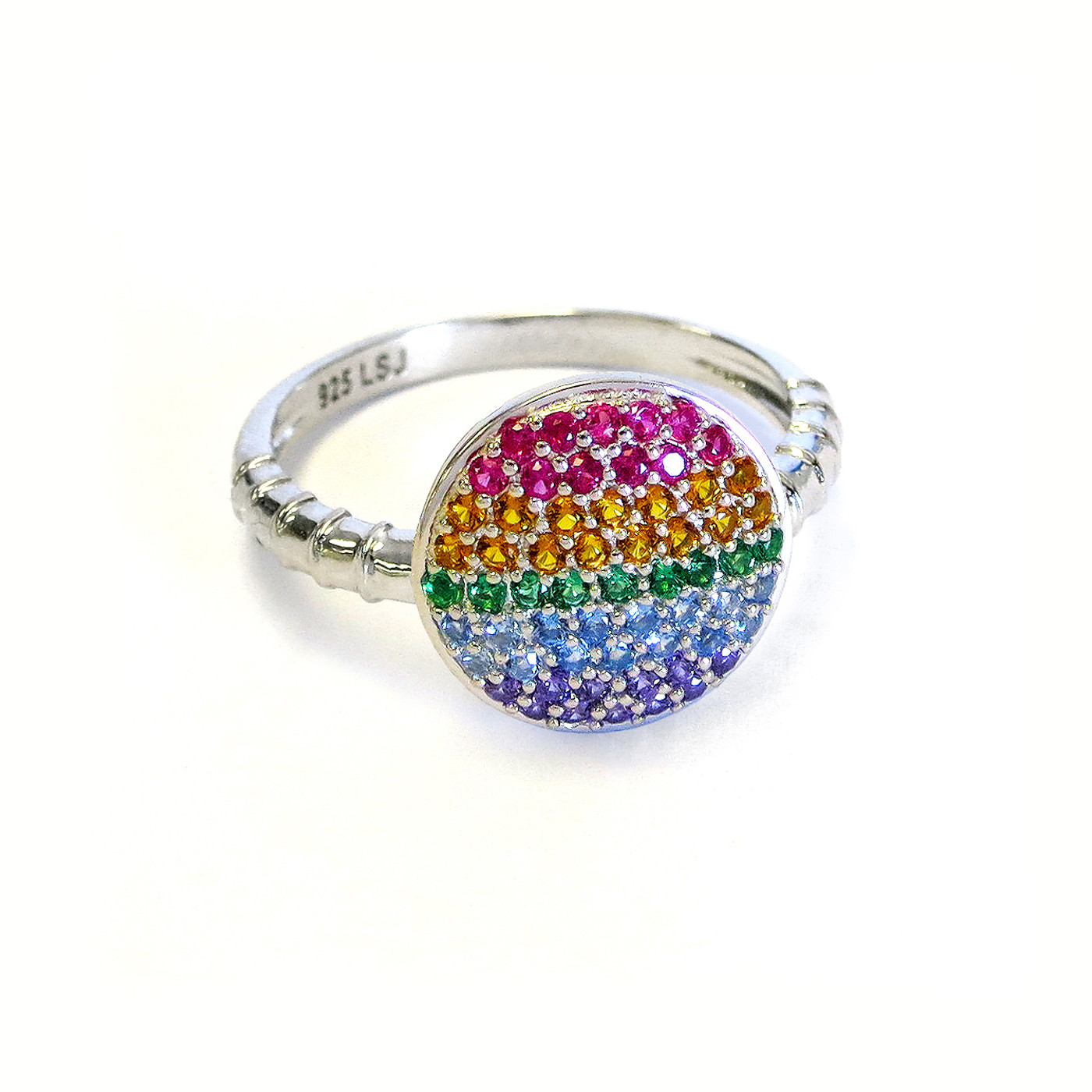 Sterling Silver Rainbow Circle Ring