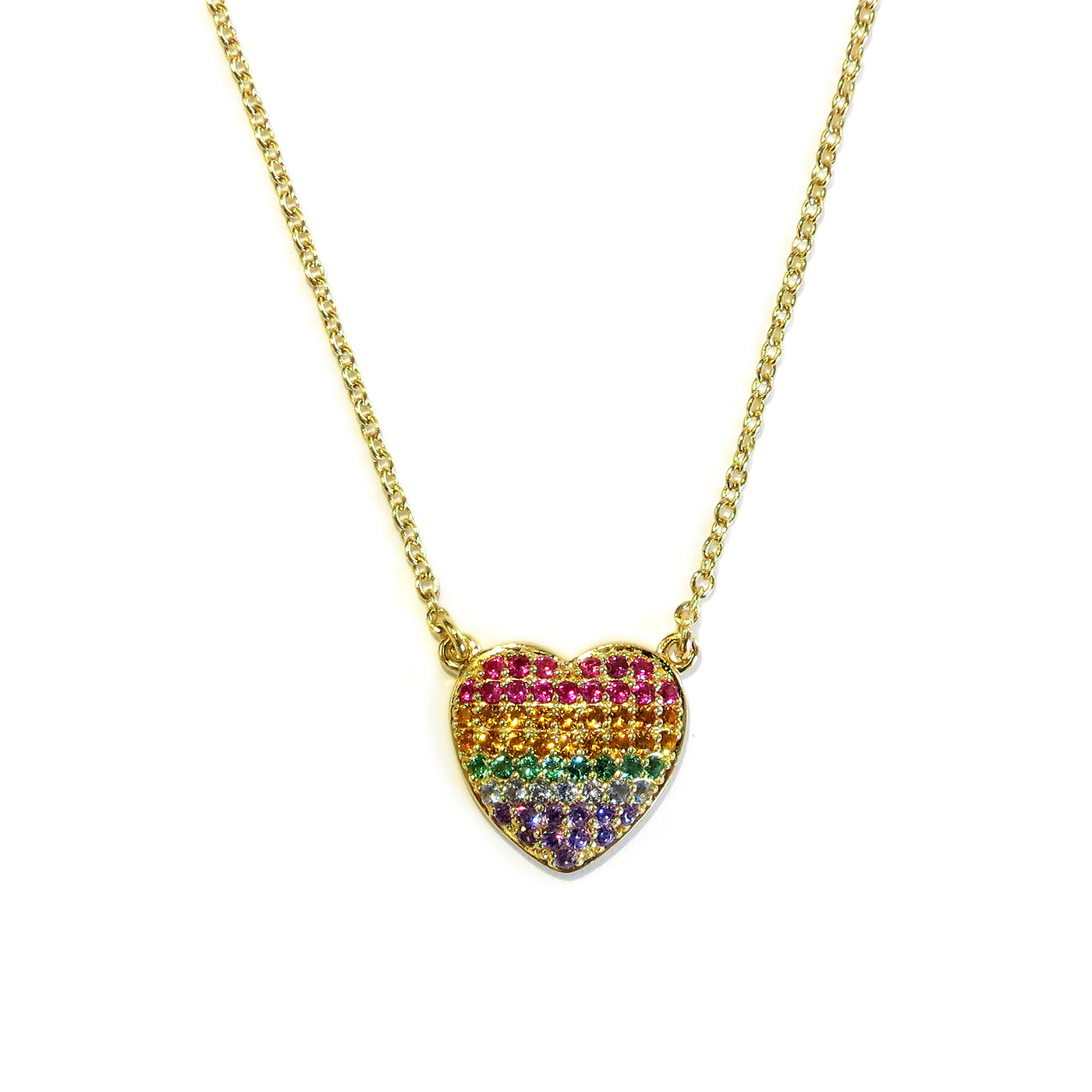 Rainbow Heart Necklace Gold