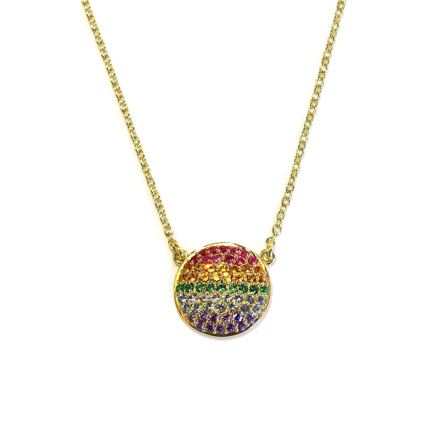 Rainbow Circle Necklace Gold