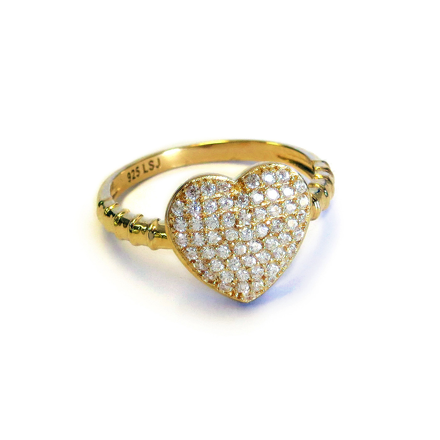 18K Gold over Sterling Silver Heart Ring